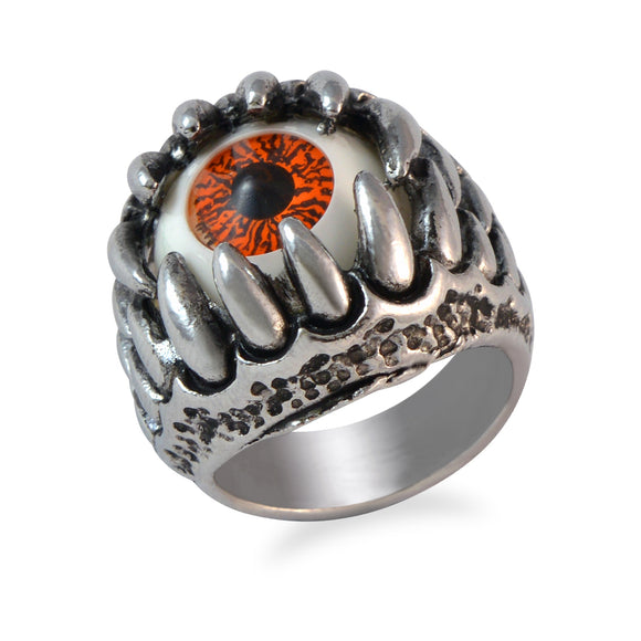 Sarah Orange Evil's Eye Finger Ring for Men - Silver