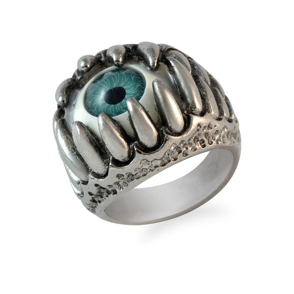 Sarah Blue Evil's Eye Finger Ring for Men - Silver