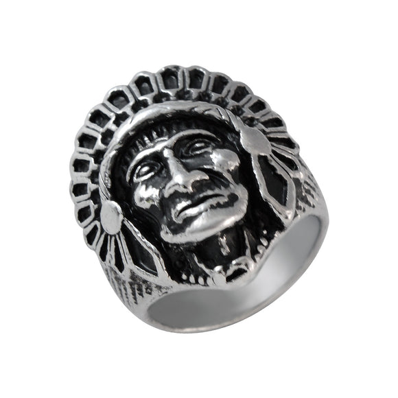 Sarah Red Indian Finger Ring for Men - Silver