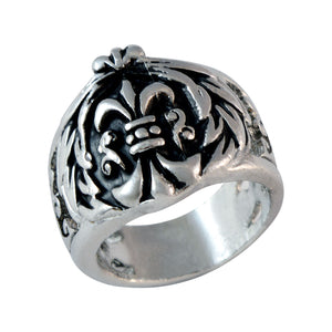 Sarah Fleur De Lis Cross Finger Ring for Men - Silver