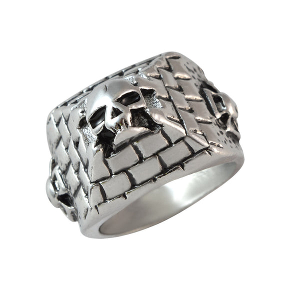 Sarah Pyramid with Skull Finger Ring for Men - Silver