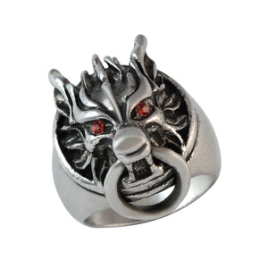 Sarah Wolf Head with Ring Finger Ring for Men - Silver