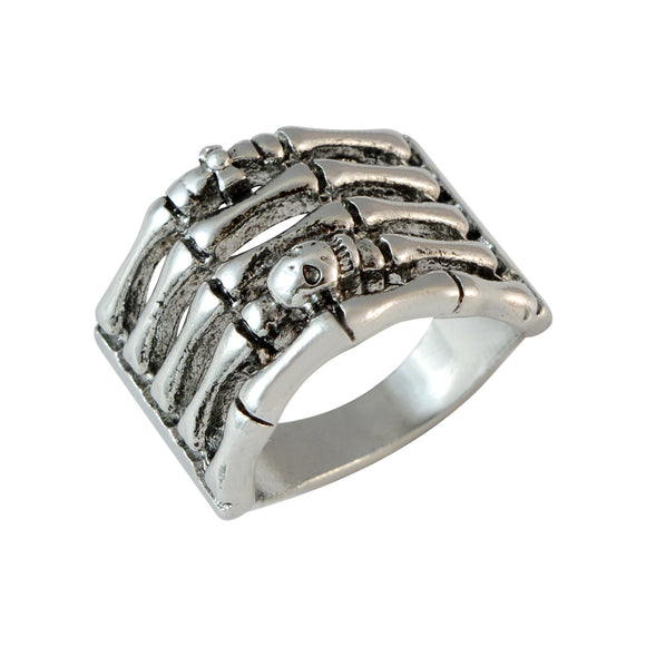 Sarah Bones with Skull Finger Ring for Men - Silver