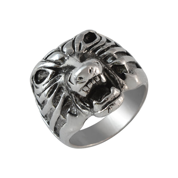 Sarah Tiger Face Finger Ring for Men - Silver