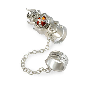 Sarah Red Rhinestone with Link Chain Full Finger Ring for Men - Silver