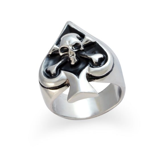 Sarah Spade with Skull Finger Ring for Men - Silver