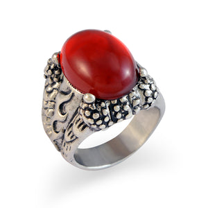 Sarah Red Faux Stone with Fire Sign Finger Ring for Men - Silver