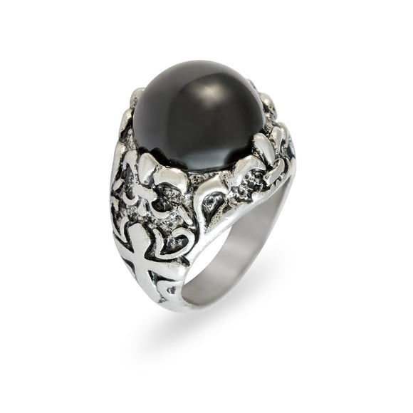 Sarah Black Faux Stone with Cross Finger Ring for Men - Silver