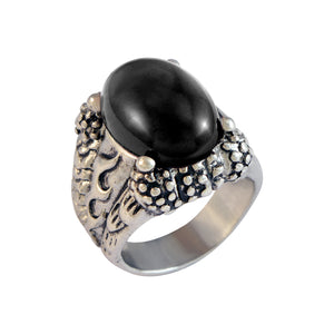 Sarah Black Faux Stone with Fire Sign Finger Ring for Men - Silver