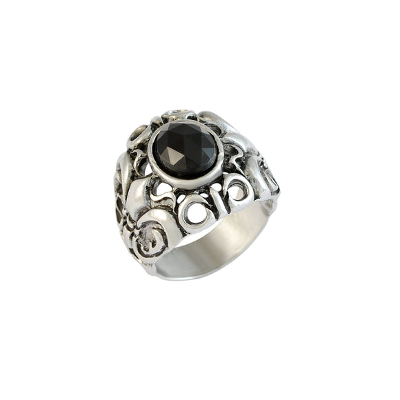 Sarah Black Faux Stone with Fleur De Lis Cross Finger Ring for Men - Silver