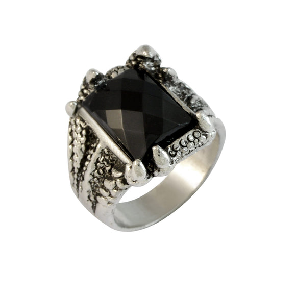 Sarah Square Black Faux Stone Finger Ring for Men - Silver