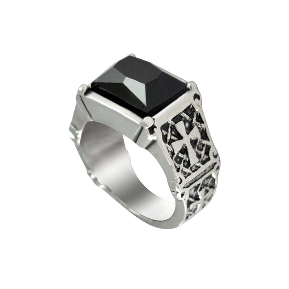 Sarah Black Stone Cross Design Finger Ring for Men - Silver
