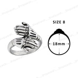 Sarah Skeleton Hands Finger Ring for Men - Silver