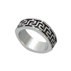 Sarah Lacquered Pattern Finger Ring for Men - Silver