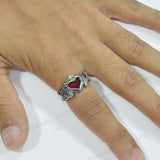 Sarah Vintage Heart Finger Ring for Men - Silver