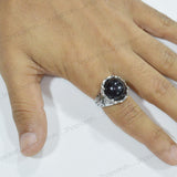 Sarah Round Black Stone Finger Ring for Men - Silver