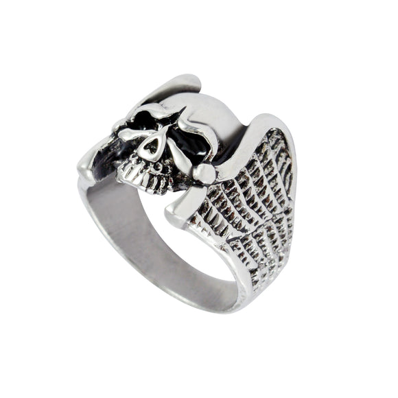 Sarah Skull with Wings Finger Ring for Men - Silver