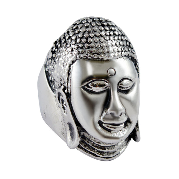 Sarah Buddha Face Finger Ring for Men - Silver
