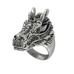 Sarah Dragon Head Finger Ring for Men - Silver