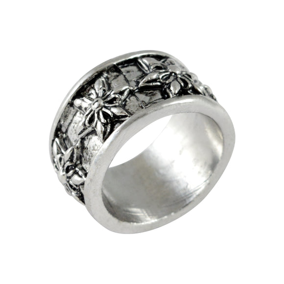 Sarah Floral Carving Finger Ring for Men - Silver