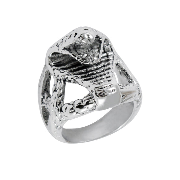 Sarah Cobra Face Finger Ring for Men - Silver