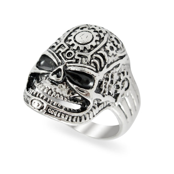 Sarah Punk Mechanical Skull Finger Ring for Men - Silver