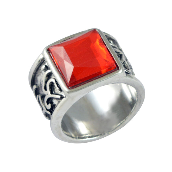 Sarah Red Stone Fligree Design Finger Ring for Men - Silver