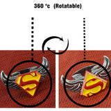 Sarah Yellow Red Superman Pattern Angel Wings Rotatable Finger Ring for Men