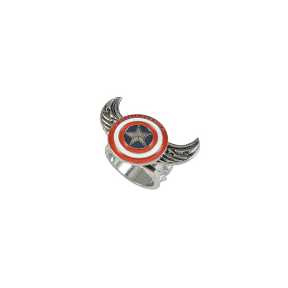 Sarah Captain America Pattern Angel Wings Rotatable Finger Ring for Men