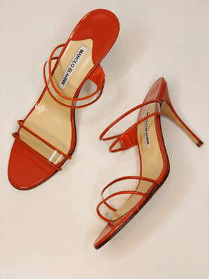 Manolo Blahnik Coral Open Toe PVC Sandals Size 39