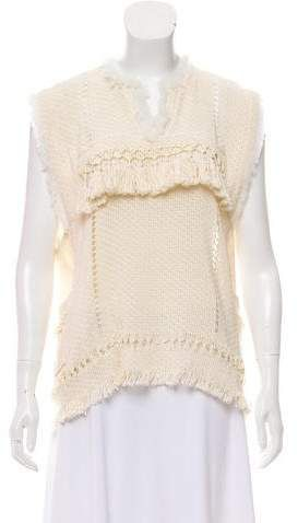 Isabel Marant Oceanic Fringes Tacey Top In Ecru Size 34