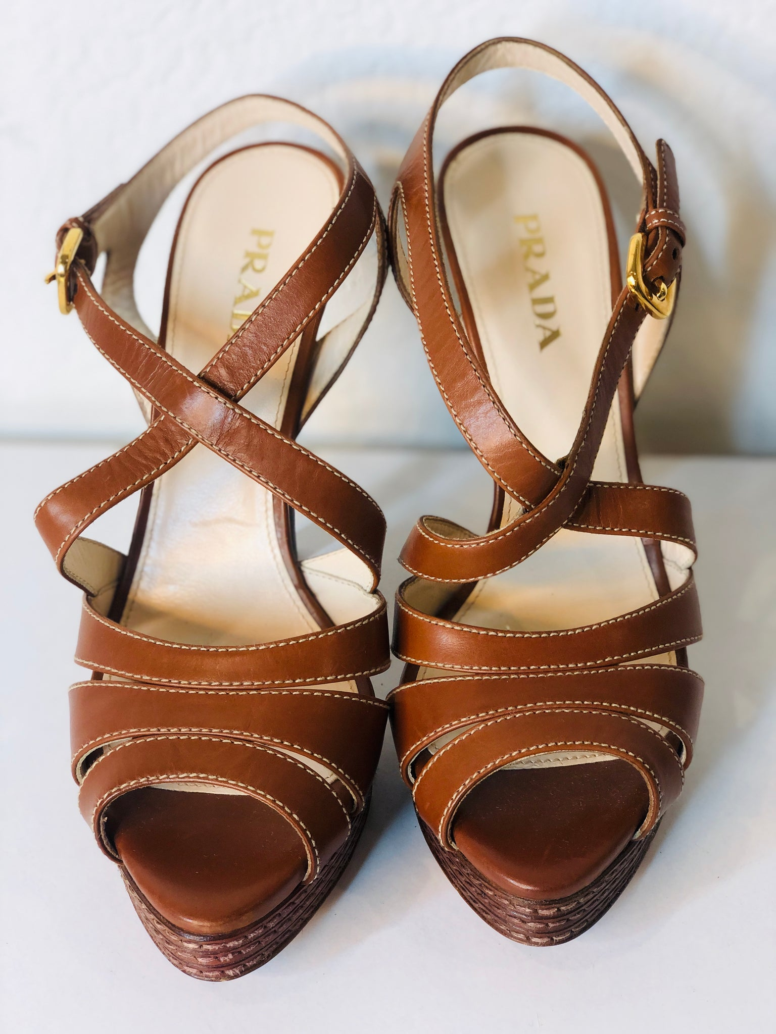 Prada Strappy Brown Leather Sandals Size 39