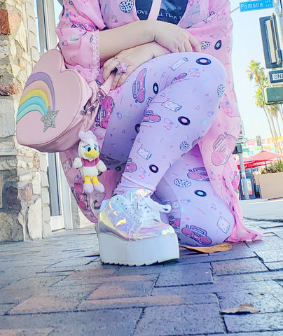 lavender leggings with pink barbie boombox print