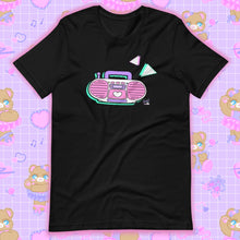 Load image into Gallery viewer, black t-shirt with barbie boombox