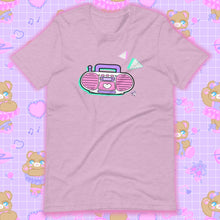 Load image into Gallery viewer, heather lilac t-shirt with barbie boombox