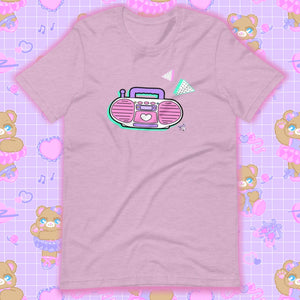 heather lilac t-shirt with barbie boombox