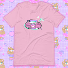Load image into Gallery viewer, lilac t-shirt with barbie boombox