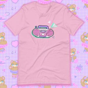 lilac t-shirt with barbie boombox