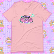 Load image into Gallery viewer, pink t-shirt with barbie boombox