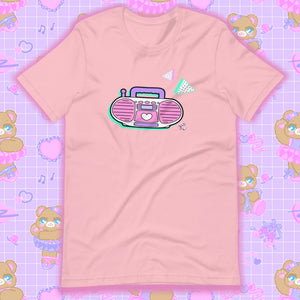 pink t-shirt with barbie boombox