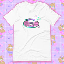 Load image into Gallery viewer, white t-shirt with barbie boombox