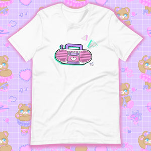 white t-shirt with barbie boombox