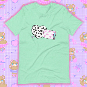 mint t-shirt with dalmation pillows