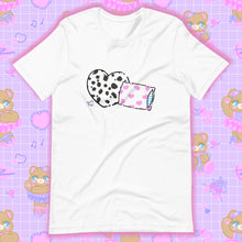 Load image into Gallery viewer, white t-shirt with dalmation pillows