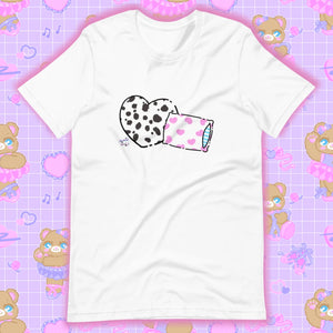 white t-shirt with dalmation pillows