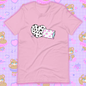 lilac t-shirt with dalmation pillows
