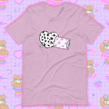 Load image into Gallery viewer, heather lilac t-shirt with dalmation pillows