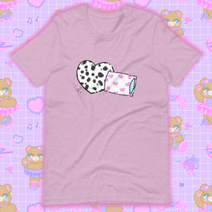 heather lilac t-shirt with dalmation pillows