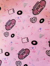 Load image into Gallery viewer, texture closeup of pink boombox print pillow