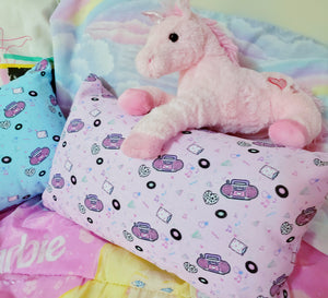 pink boombox print pillow with pink plus unicorn
